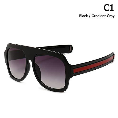 ZHOUYF Sonnenbrille Fahrerbrille Mode Dicke Streifen Tempel Männer Platz Schild Stil Sonnenbrille Vintage Coole Marke Design Sonnenbrille Oculos De Sol, A