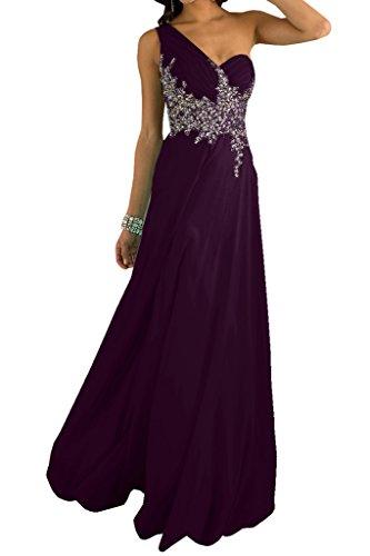 Ivydressing Damen Ein-Schulter Applikation Strass Promkleid Ballkleid Abendkleid Traube