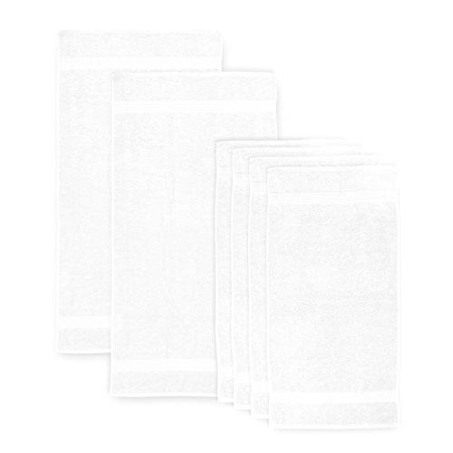 Lumaland Premium Set 4 Handtücher 50 x 100 cm + 2 Duschtücher 70 x 140 cm Frottee weiß Baumwolle 450 g/m² mit Aufhänger