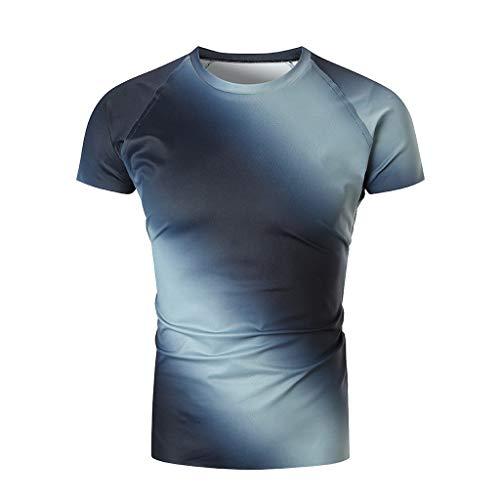 SANFASHION Herren T- Shirt Lustige 3D Muskel Druck Tank Top Fitness Kurzarm Muskelshirt (XL, Blau0418)