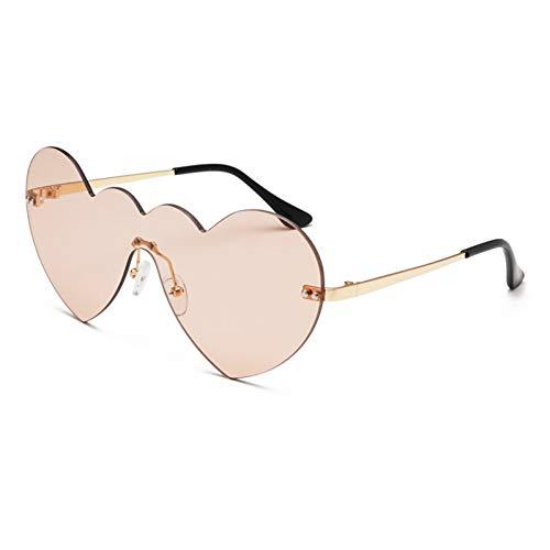 Yuanz Pfirsich Herz Sonnenbrille Damenmode Markendesign Einteiliges Glas Candy Tone Randlose Sonnenbrille Uv400,1132-2