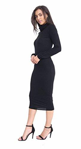 Islander Fashions Femmes Celebrity Bodycon Midi Dress Dames Cowl Roll Neck manches longues Midi Dress S / 3XL Black