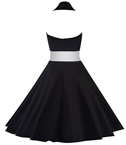 YOGLY Damen Kleid Vintage Retro Cocktail ärmellos Abschlussball Kleider 50er 60er Rockabilly Neckholder Audrey Hepburn Kleid Swing Kleid Schwarz