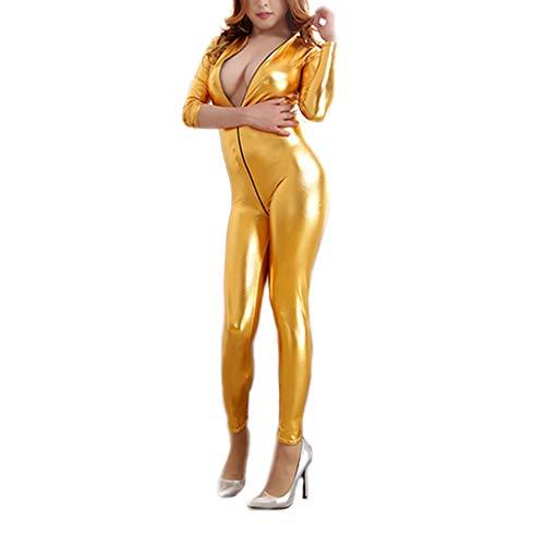 Demarkt Jumpsuit Bodysuit Anzug Wet Look Catsuit Bodys Sexy Nachtclub Kostüm Gefangenen Cosplay Body