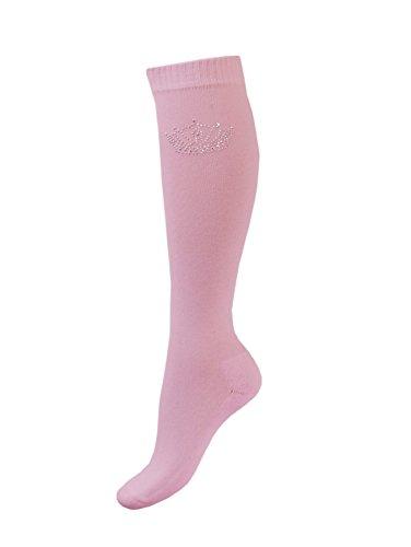 Esperado Kniestrumpf mit Strassmotiv \'Crown\' in rosa, Größe:35-38