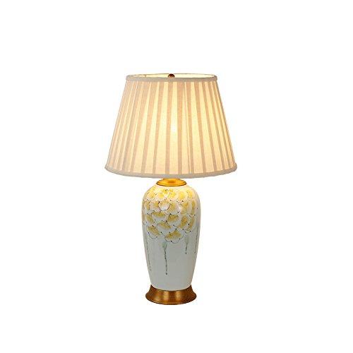 Bambus-harz-tischlampe (ASL Kupfer Keramik Schreibtisch Lampe, Schlafzimmer Nachttisch Lampe Wohnzimmer Study Villa Hotel Gästezimmer Einfache kreative blaue und weiße Porzellan Beleuchtung E27 Tischlampe 39 * 64CM Neu ( größe : 39*64CM ))