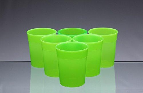Passe au lave-vaisselle empilables en plastique Vert Fluo Tasses/Gobelets/Verres 250 ml (Lot de 6)