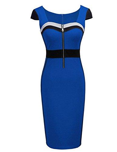 M-Queen Femmes Moulante Robe Manche Courte Bodycon Causalite Robe Crayon Soirée Cocktail Bleu