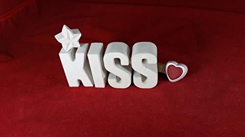 Beton, Steinguss Buchstaben 3 D Deko Schriftzug Namen KISS als Geschenk verpackt! Ein ausgefallenes Geschenk als Deko Schriftzug für einen schönen Platz im Home. -