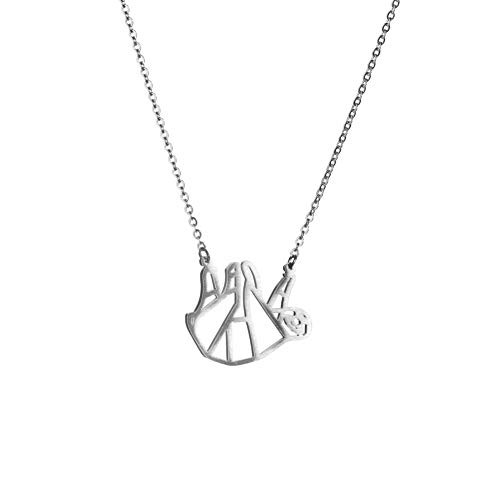 La Menagerie Faultier Silber, Origami-Schmuck & versilberte geometrische Kette - 925 Sterling Silberkette & Faultier-Halsketten für Frauen - Faultier-Halskette für Mädchen & Origami-Halskette