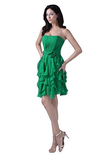 Bridal_Mall Damen ohne Traeger Cocktailkleid Kurz Falten mit Blumen Verzierung Ball Abendkleider Dunkelgruen