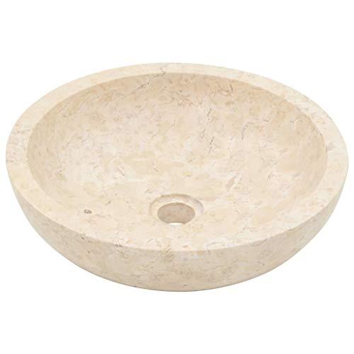 Festnight- Waschbecken Aufsatzwaschbecken Handwaschbecken Waschschale Marmorwaschbecken | Rund 40 x 12 cm Marmor Creme
