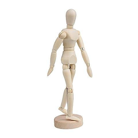 BQLZR Wooden Human Mannequin 8 Inch Manikin Sketch Model Art/ARTIST Unisex Model by BQLZR
