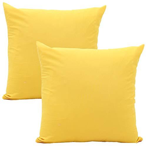 JOTOM Weiche Einfarbige Polyester Kissenbezug,Kissenbezüge für Zuhause Dekorative Couch Sofa 45x45 cm, 2er Set (Gelb)