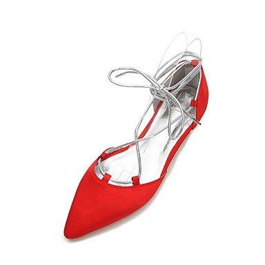 Wuyulunbi@ Scarpe donna raso Primavera Estate & Comfort in due pezzi Ballerina cinturino alla caviglia scarpe matrimonio Punta Perla Bowknot Rosso