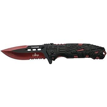 THIRD Navaja asistida Yankee K2796RDS, Mango de Aluminio Negro con Agujeros, Hoja de Acero INOX de 10.5 cm Negra con Corte y Liners anodizado en Rojo ...