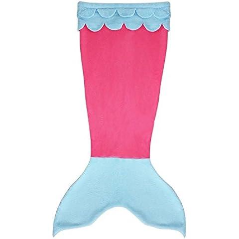 RGTOPONE Manta suave de la cola de la sirena calentar Sábanas de franela Saco de dormir de los pescados del capullo Acurrucarse en la cama sofá de disfraces para niños adultos,Azul y Rosa - Tamaño M