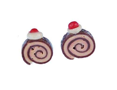 Biscuit Rolle Ohrstecker Miniblings Stecker Ohrringe Kuchen Biscuit Mini braun