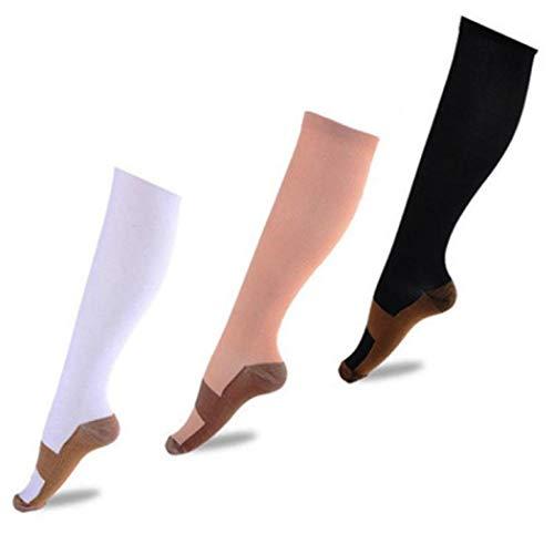 SBOYS 6 Paar Flight-Socken für Damen und Herren Kompressionssocken für Laufen Leichtathletik Skifahren Krankenschwestern Schienbeinschienen Blutzirkulation – 20-30 mmHg