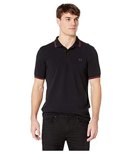 Fred Perry Slim Fit Twin Tipped Polo Black/Crushed - Twin Tippen