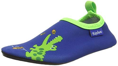 Playshoes Unisex-Kinder Barfuß-Schuhe, Badeschuhe Krokodil Aqua Schuhe, Blau (Marine), 24/25