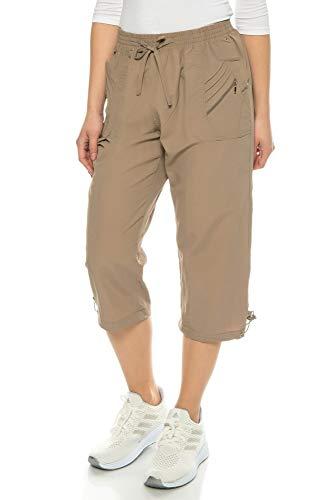 Kendindza Damen Sommer Stoff-Shorts | 3/4 Capri-Hose | Basic Uni-Farben bis 3XL (Fango, M)