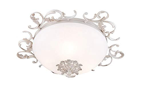 Antike runde Deckenleuchte, weiße Farbe, dekorativer Metallrahmen, matter weißes Glasschirm, 3-flammig, exkl. E14 40W, 220V-240V - Runde, Weiße Glasschirm