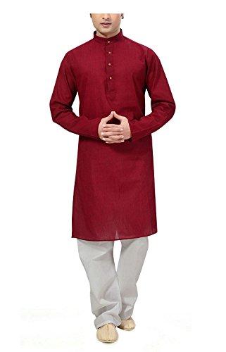 Ishin Men Cotton Kurta Pyjama (Indsh-101_L _Red _Large)  available at amazon for Rs.799