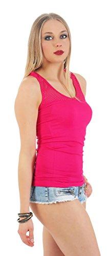 Damen Träger Sommer Shirt Top T-Shirt 6 Farben Farben Gr. S M L XL Pink