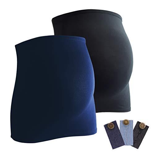 Mamaband Bauchband Doppelpack + gratis Hosenerweiterungen (3 Stück aus Jeans) - Bauchbänder sind von der Marke (R), Dunkelblau/Schwarz, 32-38