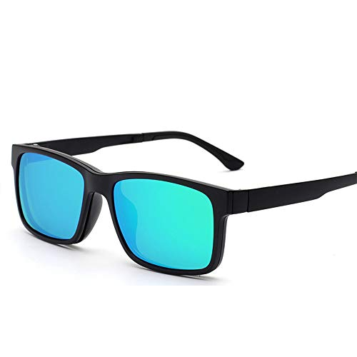 L-MEIQUN,Magnetische polarisierte Sonnenbrille zum Aufstecken Clip-on Light Frame UV400 zum Schutz von Brillen(Color:BLAU GRÜN)