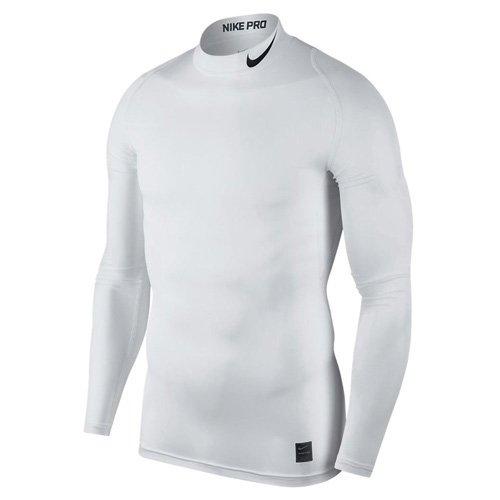 Bereich Herren T-shirt (Nike Herren Pro Compression Mock Langarm Oberteil, White/Black, S)