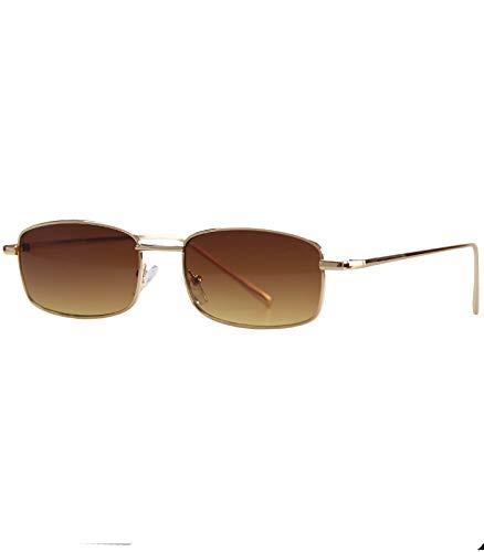 Caripe Retro Sonnenbrille Vintage Rechteckig Herren Damen Metallrahmen - 9072 (gold - braun getönt)