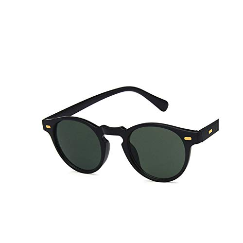 Sports Eyewear, [EL Malus]Retro Small Oval Frame Sunglasses Mens Womens Dark Green Lens Mirror Vintage Leopard Shades Brand Designer Sun Glasses C2 Black Dark Green