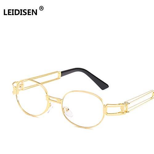 TYJMENG Sonnenbrillen Retro Klare Linse Nerd Brillenfassungen Für Männer Männlich Oval Kleine Runde Brillen Frauen Gold Metall Hohl Oculos