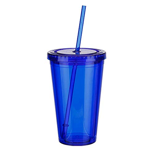 Bobopai Smoothie Plastic Iced Tumbler Double-Walled Ice Cold Drink Coffee Juice Tea Travel Cup Bottle Mug with Straw Liquid Beaker Lid About 500ml 1 Pcs (Blue) Ice Blue Tumbler
