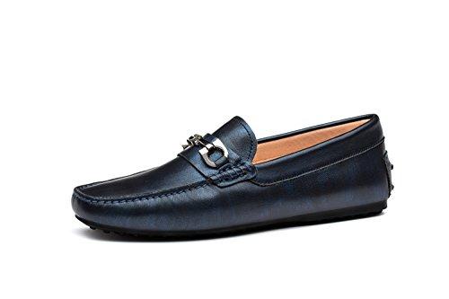 OPP Hommes Mocassins Loafers Ornement de Métal Chaussures de Conduite Bleu