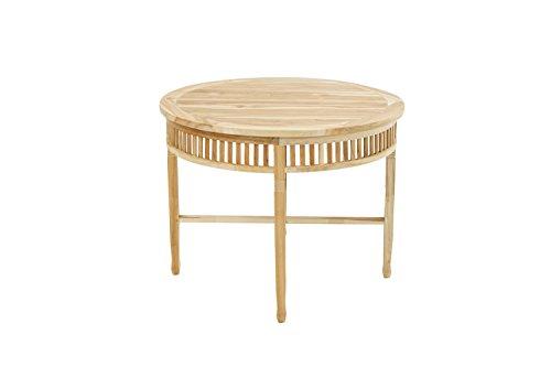 Ploß Gartentisch New Orleans Eco rund 100 cm für 2-3 Personen - Teakholz-Tisch mit SVLK-Zertifikat - Terrassentisch aus hochwertigem Naturholz - Esstisch Braun mit polierter Oberfläche