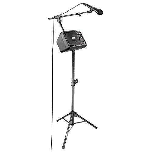 Neewer Système de Karaoke de Soirée - Moniteur de Haut-Parleur Stéréo, Support de Sol, Microphone Cardioïde Dynamique avec Clip Micro et XLR Câble Mâle à Femelle pour Maison, Eglise, Scène