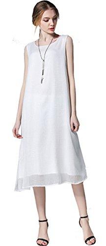 Tailloday Damen A-Linie Kleid Weiß