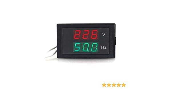 Misuratore di frequenza voltmetro digitale AC Nero strumento di test del monitor di frequenza di tensione generatore 80-500V LED incorporato per alimentazione CA 45-60Hz pura