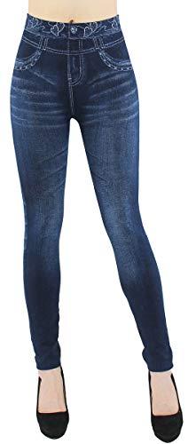 Thermo Leggings Damen Jeggings gefüttert Jeansoptik - WL046 (40/42 - L/XL, WL081-Herzen)