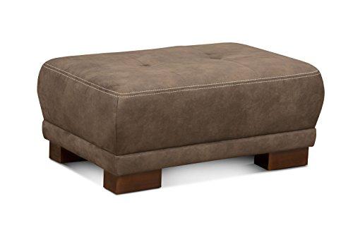 Cavadore Couchhocker Cytaro in Wildlederoptik / Gepolsterter Hocker für Wohnzimmer mit moderner Kontrastnaht und Holzfüßen / Größe: 99 x 43 x 65 cm...