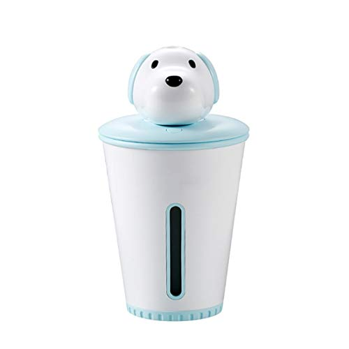 Fusanadarn 300ml Cute Dog Portable Ultraschall Diffusoren Kühler Nebel Luftbefeuchter (Color : Blue) -