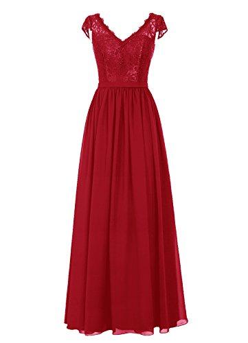 Dresstells, Robe de soirée, robe de cérémonie, robe longue de demoiselle d'honneur Rouge Foncé