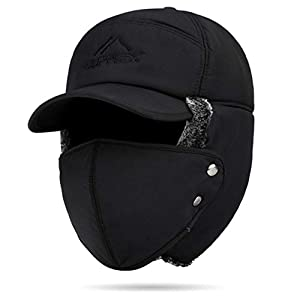 Caoni Herren Winter-Fliegermütze mit Ohrenklappen für Outdoor-Sport, Skifahren, Camping, Maske