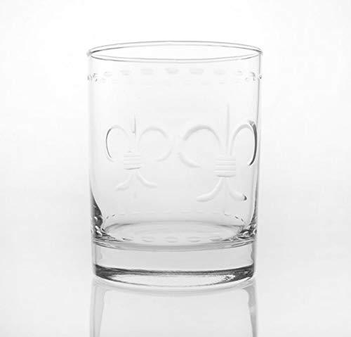 Fleur De Lis Gravur Glas Rocks Gläser-14oz-Set von 4 (Gras Rock Mardi)