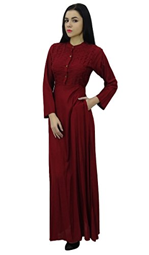 Bimba col mandarin robe de jilbab des avec des poches pleines maxi manches Bordeaux