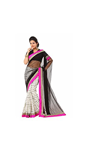 Designer Sarees Net White and Black Tamil Font Printed Bollywood Lace Bordered Party Sarees