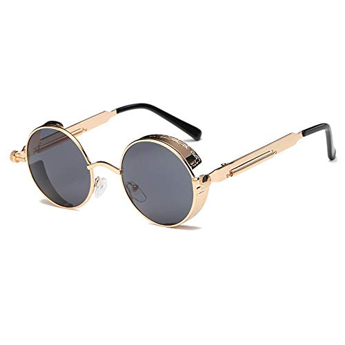 FUZHISI Sonnenbrillen Runde Metall Sonnenbrille Männer Frauen Brillengestell Sonnenbrille UV400, Schwarz